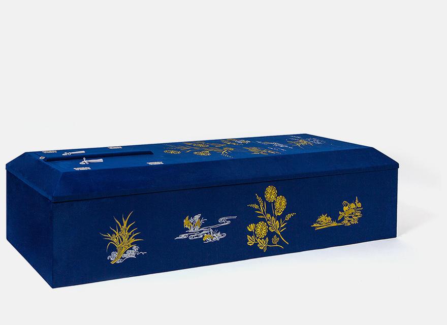 布張山型刺繍棺 ネイビー